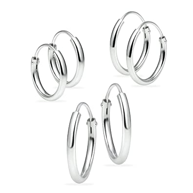 d714447c9 Amazon.com: Sterling Silver Small Endless Hoop Earrings for Cartilage Nose  and Lips Set of 3 10mm 12mm 14mm: Jewelry