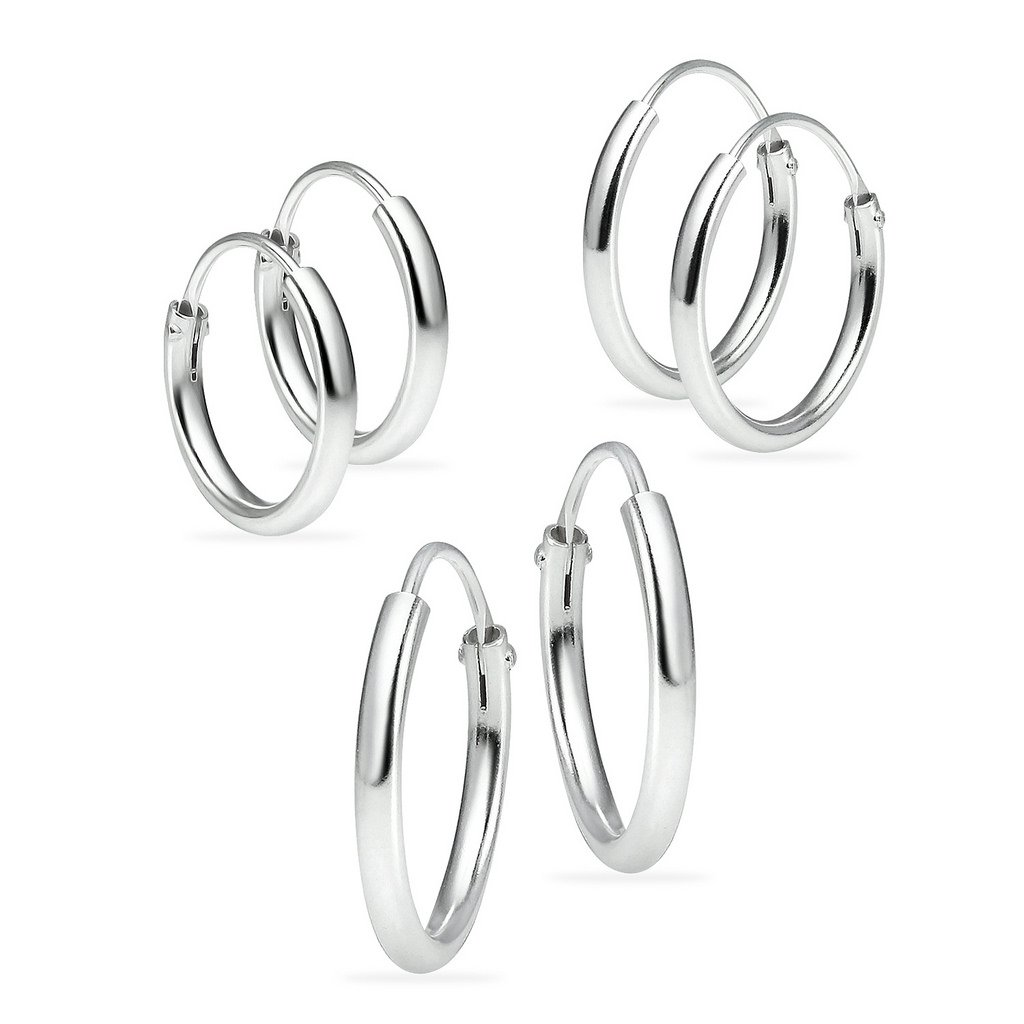 Sterling Silver Small Endless Hoop Earrings for Cartilage Nose and Lips Set of 3 10mm 12mm 14mm
