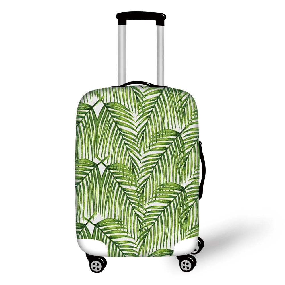 Travel Luggage Cover Suitcase Protector,Plant,Fascinating Leaves on Branches Exotic Setting Floral Arrangement Jungle Themed Greens,Fern Green,for Travel