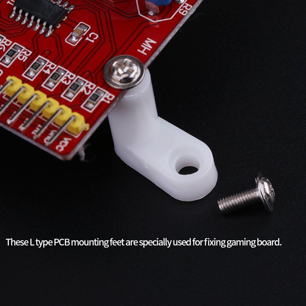 FTVOGUE 100pcs Pieds de Montage PCB type de Forme L avec vis pour Carte de Jeu Arcade Support
