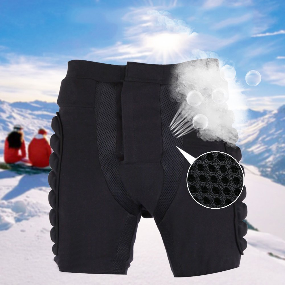 potato001スキースケートスノーボード3dヒップEvaパッド入りショートパンツImpact保護ギア ブラック 3L