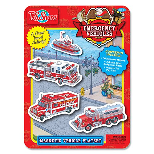 (T.S. Shure Emergency Vehicles Magnetic Tin Playset)