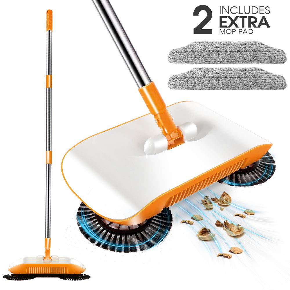 3 in 1 Sweeper-Household Cleaning Spinning Cordless Push-Power Broom Including Broom, Dustpan and Trash Bin For Household Cleaning with 360° Rotation-Lightweight - Non-Electric with 2 Extra Mop Heads by Mastertop