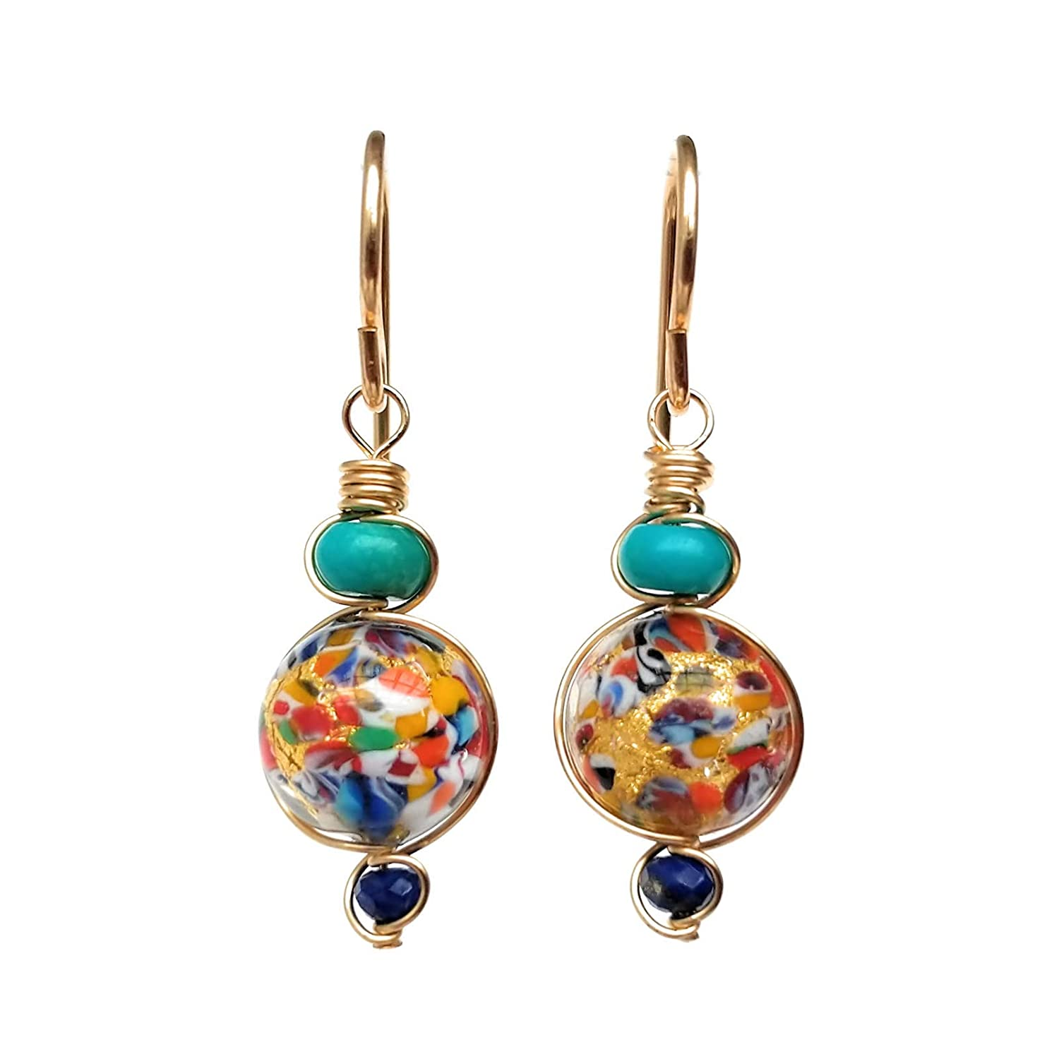 Multi-colored Glass Bead Earrings Round Turquoise 14//20 Gold-Filled