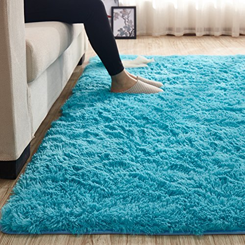 MAXYOYO 35 cm Height Solid Color Large Fluffy Shaggy Area Rug AntiSkid Carpet Ultra Soft Easy Care Rug for Bedroom/Living Room Modern Shaggy Carpet Rug Mat Girl Room Home Decor 47 by 79 Inch