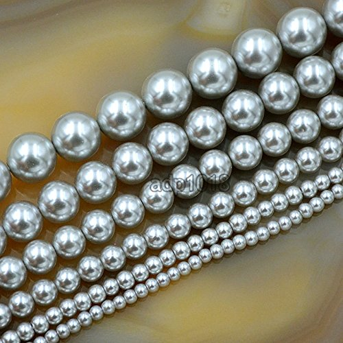 (AD Beads Top Quality Czech Glass Pearl Round Beads 16'' 3mm 4mm 6mm 8mm 10mm 12mm (6mm, Light)