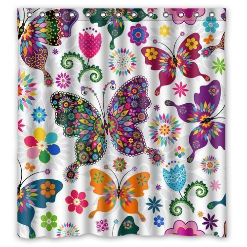 FMSHPON Fashionable Bathroom Collection-Custom Waterproof Seamless Spring Pattern Colorful Butterflies Shower Curtain (66