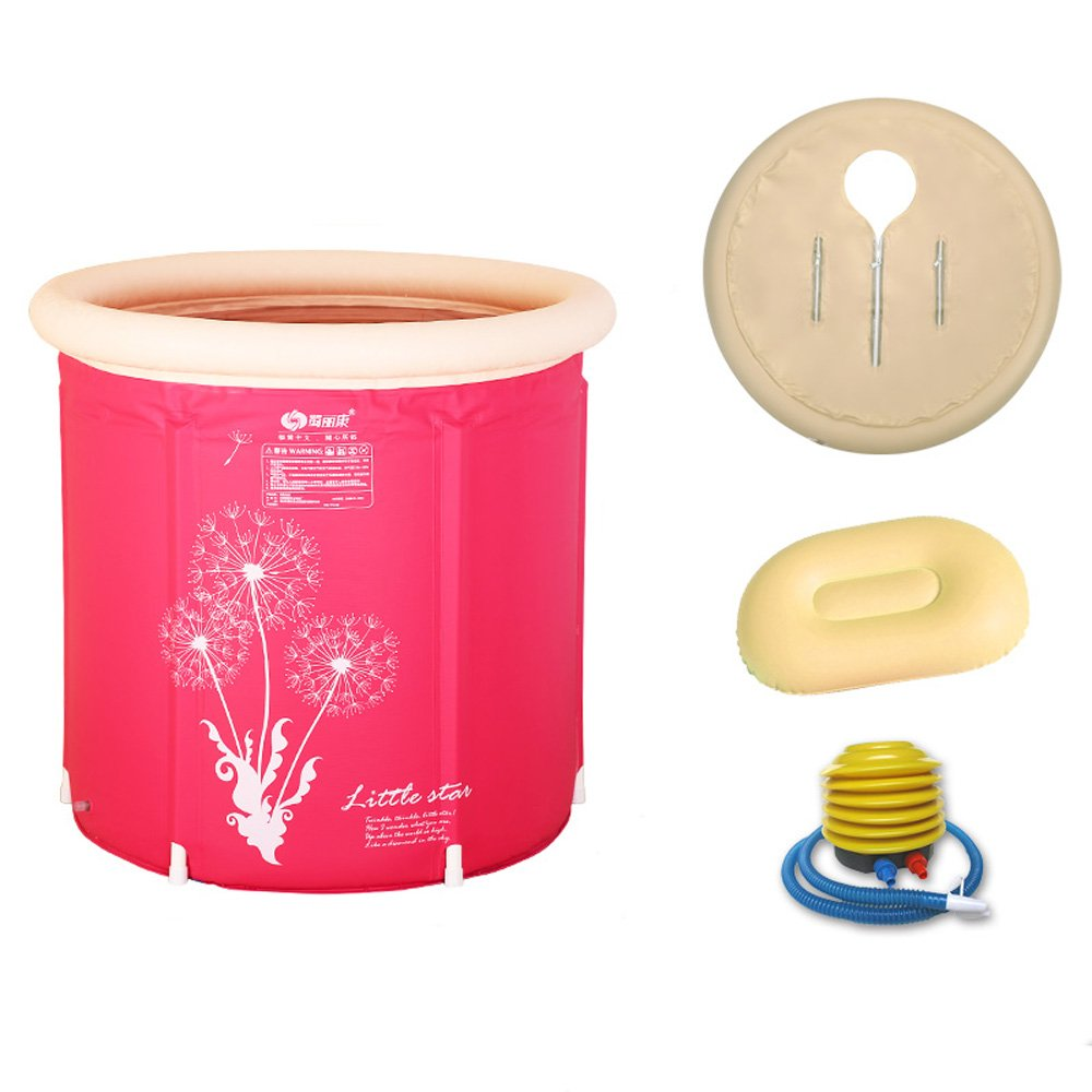 Pumpink Vasca da bagno Vasca da bagno per adulti Vasca da bagno gonfiabile Addensare Staffa in plastica Pieghevole Vasca da bagno Vasca da bagno Vasca da bagno ( Color : Pink , Dimensione : 65*70 )