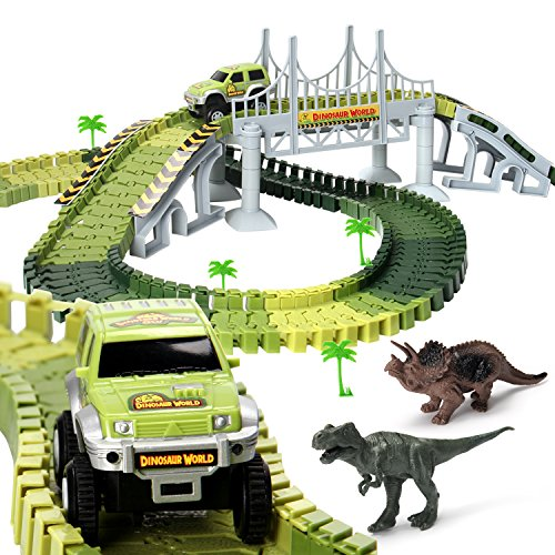 Race Car Tracks Dinosaur World Toys with 142 Pieces Flexible Tracks Set 2 Dinosaurs,1 Military Vehicles,4 Trees,2 Slopes,1 Double-door and 1 Hanging Bridge for Children's Gift (4 World Accessories)