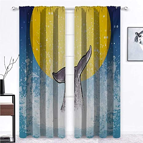 Amazon Com Room Darkening Curtain Whale Eco Friendly Blackout Shades Whales Tail In Ocean On Full Moon Diving In Water Swimmer Marine Animal Print For Bedroom Girls Room Decor 2 Rod Pocket Panels 42 W