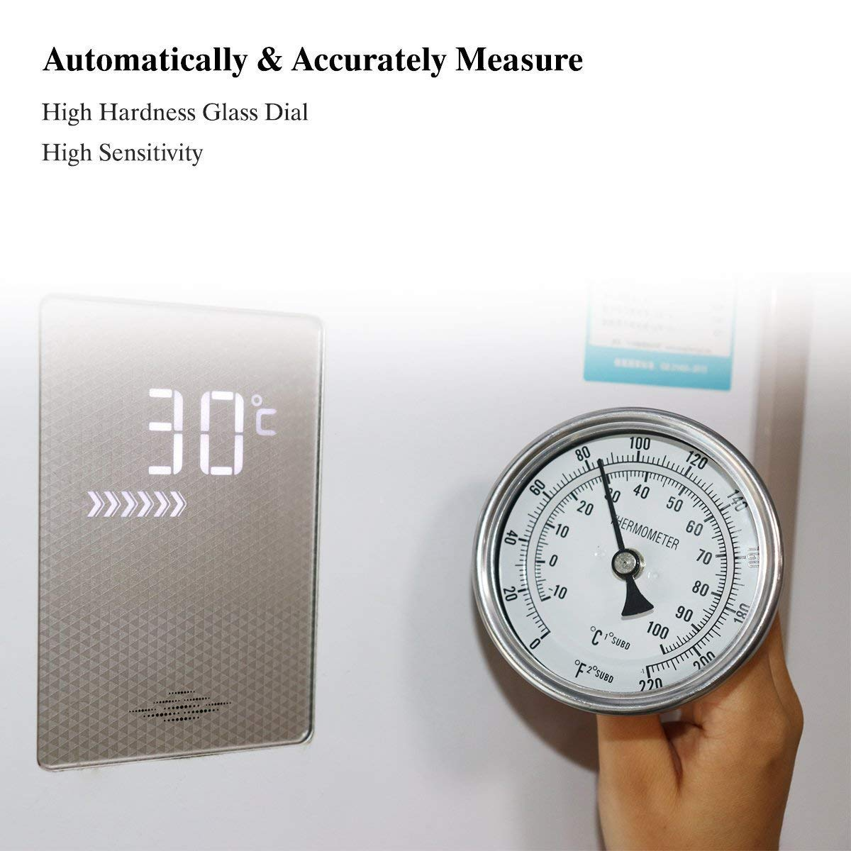 NOFDA Homebrew Kettle Beer Brewing Thermometer Homebrew Beer Bi-Metal Thermometer 3''Face & 2''Probe, 1/2''MNPT, 0~220F Degree