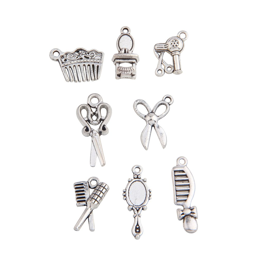 BNQL 16pcs Hairstylist Charm Collection DIY Jewelry Making (Hairstylist)