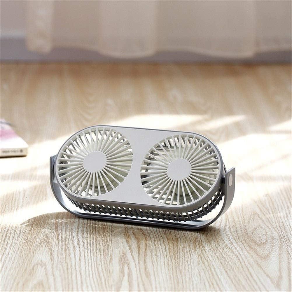 Color : Pink Mini Portable Cooling Fan Desktop Double Fan Study Dormitory Bedside 5 Leaves 3 Gear Wind Fan USB Mini Fan