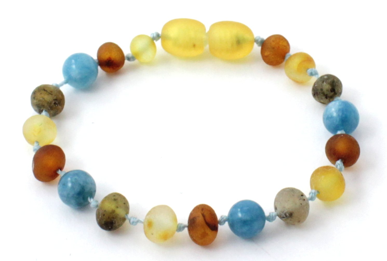 Raw Baltic Amber Teething Bracelet / Anklet made with Aquamarine Beads - Size 6.3 inches (16 cm) - Raw Multicolor Amber Beads - BoutiqueAmber (6.3 inches, Raw Multi / Aquamarine)