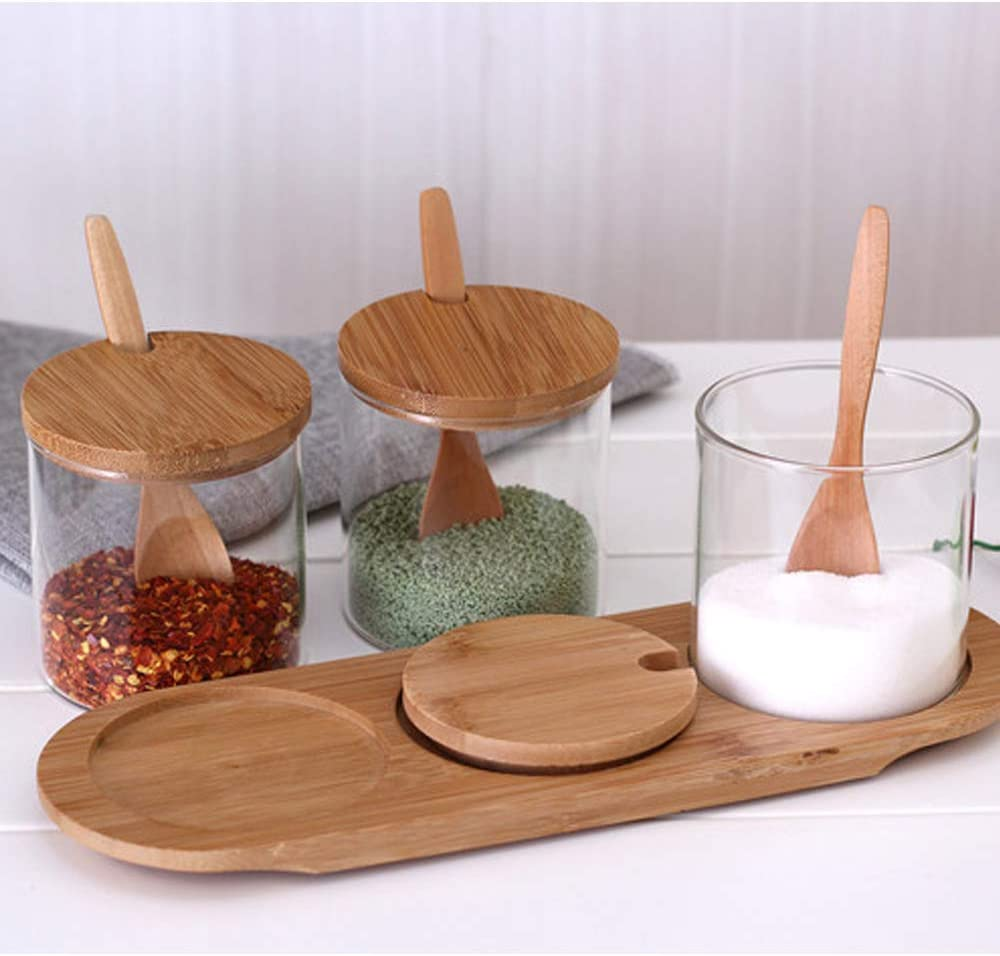 Clear Glass Storage Containers Condiment Jars Set with Base for Kitchen Coffee Bar and Home Kitchen Glass Seasoning Box with Bamboo Lid and Spoons Set of 3