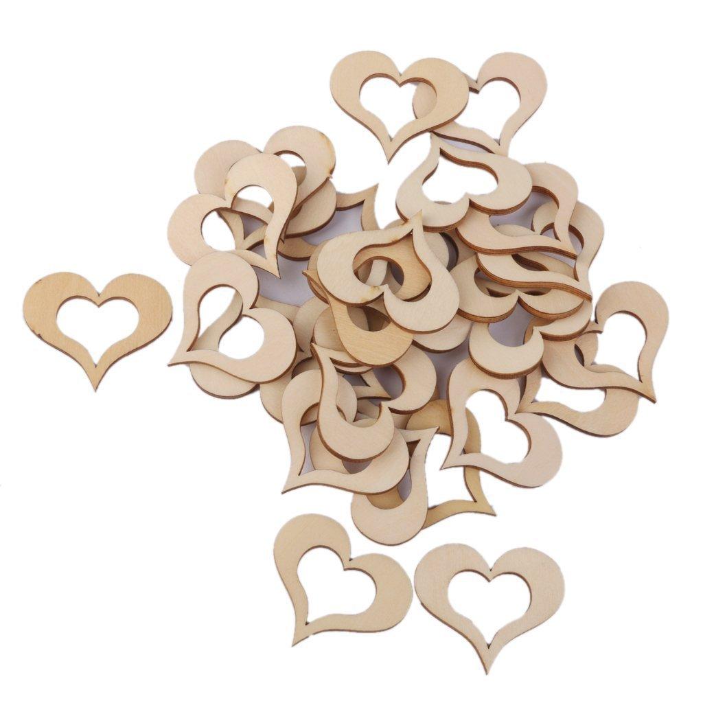 Dreamer Life 40 mm en bois DIY Sweet creux Cœ ur Crafts Dé corations Accessoires Environ de 30 Couvre-siè ges de