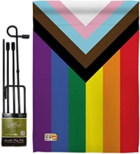 Progress Pride Garden Flag - Set with Stand Support Rainbow Love LGBT Gay Bisexual Pansexual Transgender - House Decoration Banner Small Yard Gift Double-Sided Made in USA 13 X 18.5