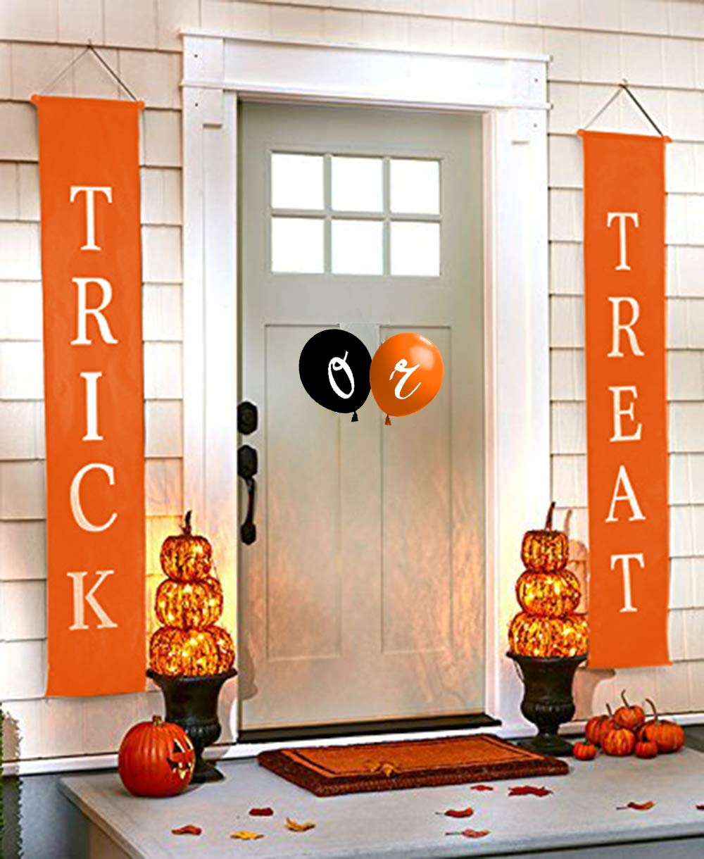 Trick or Treat Banner and Balloons for Halloween Decorations Outdoors/Indoors