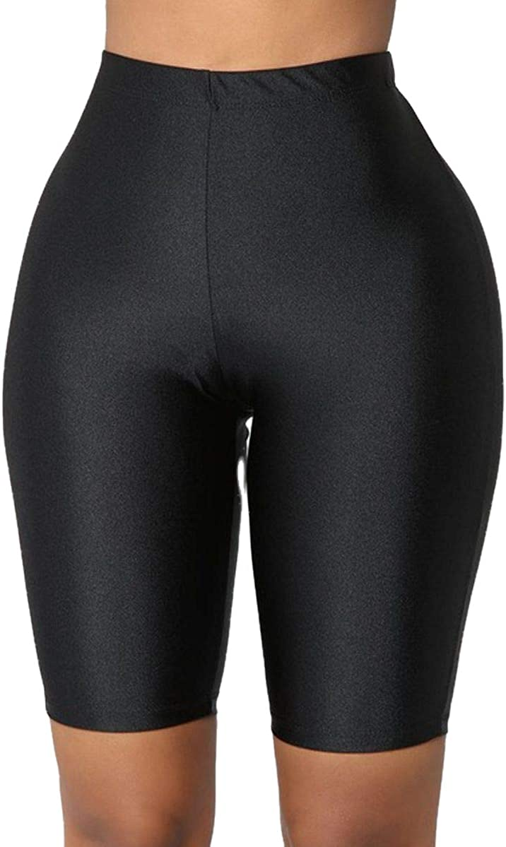 New Women Stretch Bike Shorts Workout Leggings Knee Length Short Pants