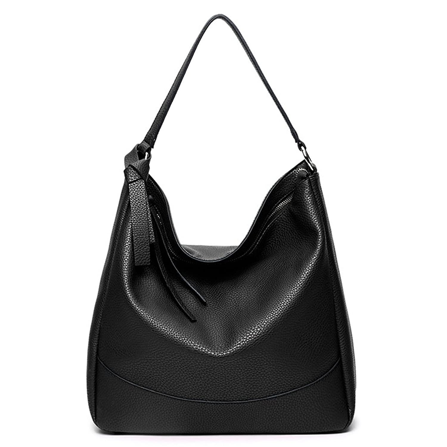 Amazon.com  Hoxis Faux Leather Slouchy Hobo Bucket Shoulder Handbag Womens  Tote Purse (Black)  Shoes 9caa68058eb34