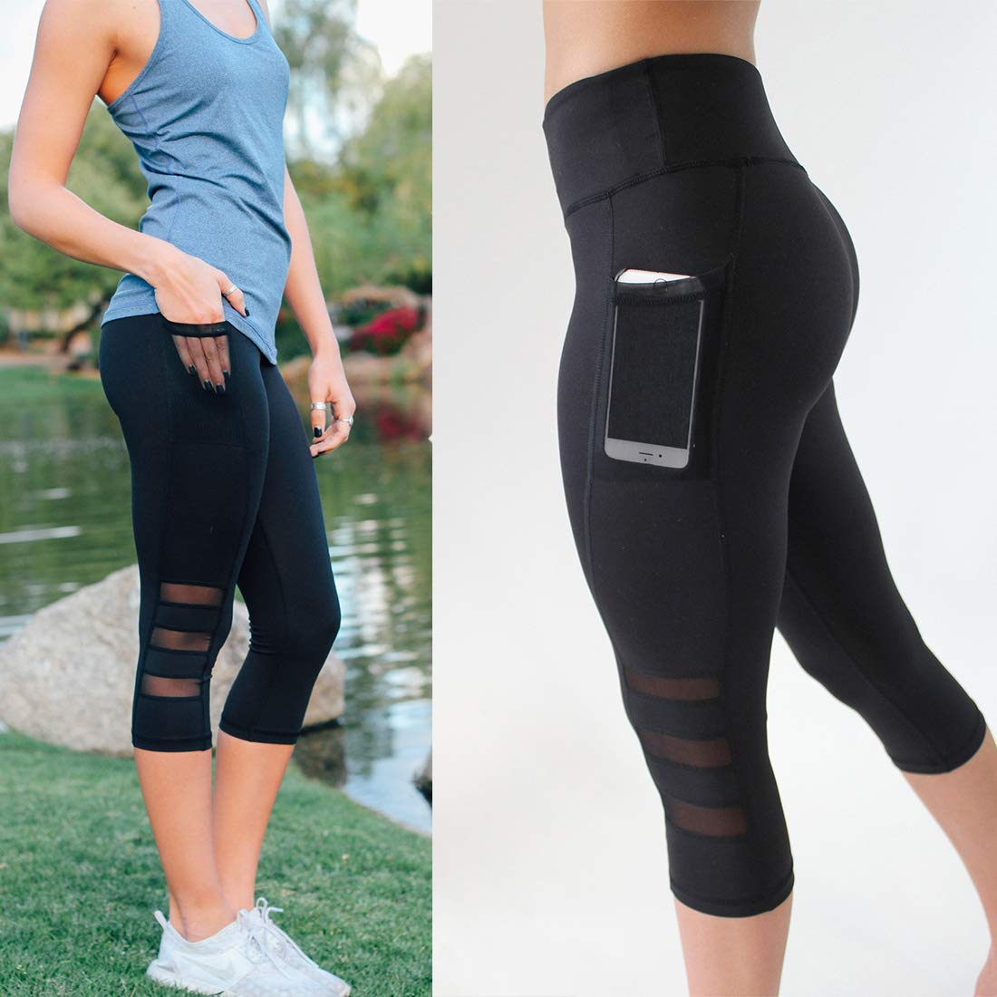 High Waist Cropped Leggings with Pockets for Women Black Workout Mesh Capri Yoga Pants Gym Tights
