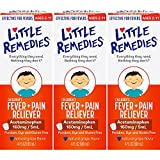 Little Remedies Children's Fever + Pain Reliever | Natural Grape Flavor | 2 oz | Pack of 3 | For Ages 2+
