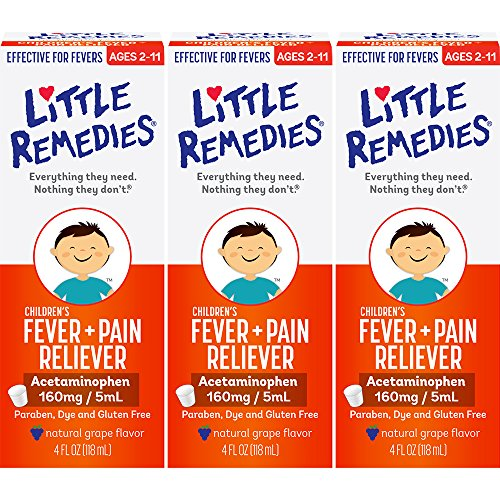 Little Remedies Children's Fever + Pain Reliever | Natural Grape Flavor | 2 oz | Pack of 3 | For Ages (Sore Throat Pain Reliever)