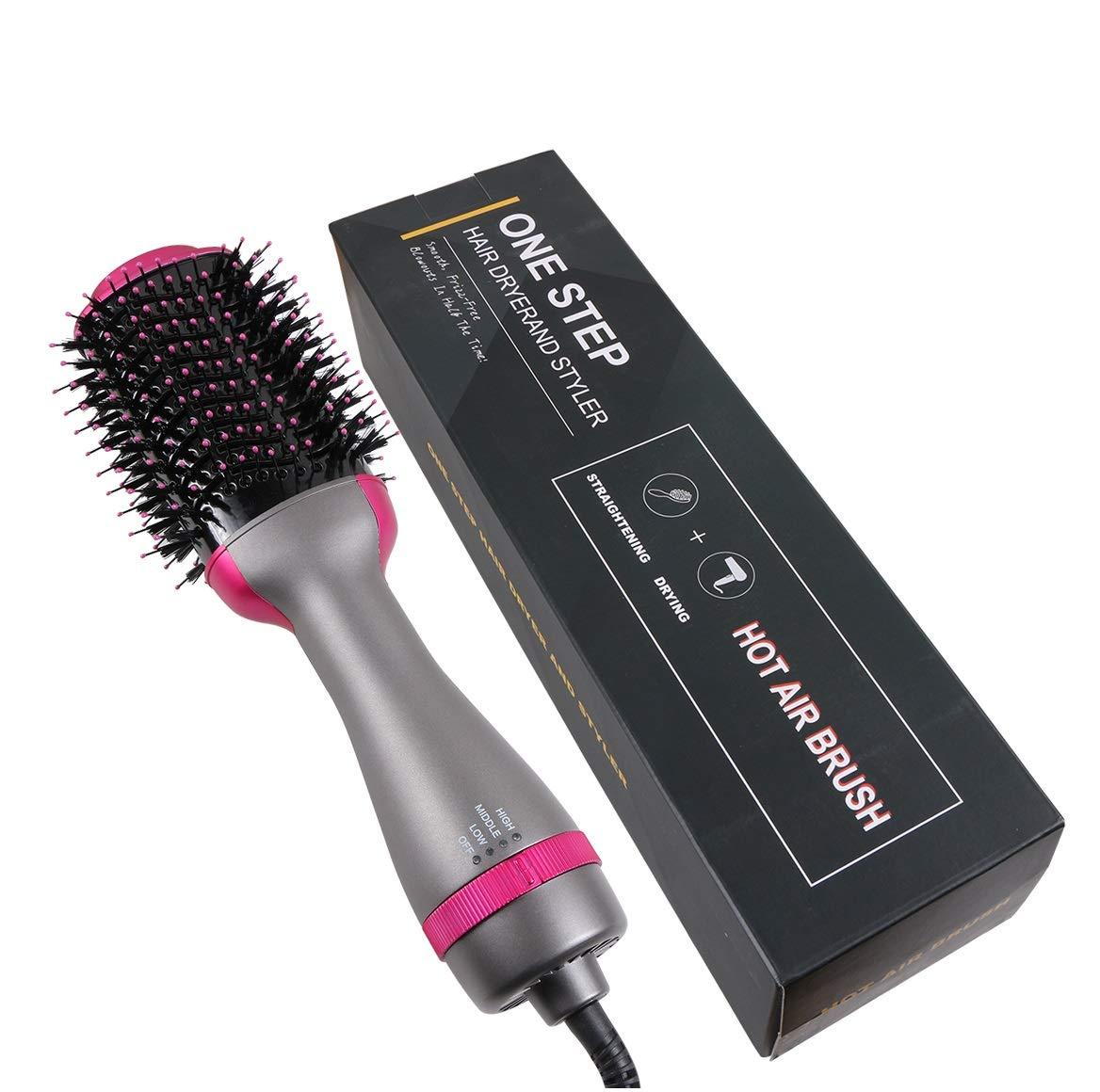 EVERMARKET One Step Hair Dryer Volumizer, Hot Air Brush Negative Ion Generator Hair Straightener Curler Brush for All Hairstyle 1000W 110V Grey
