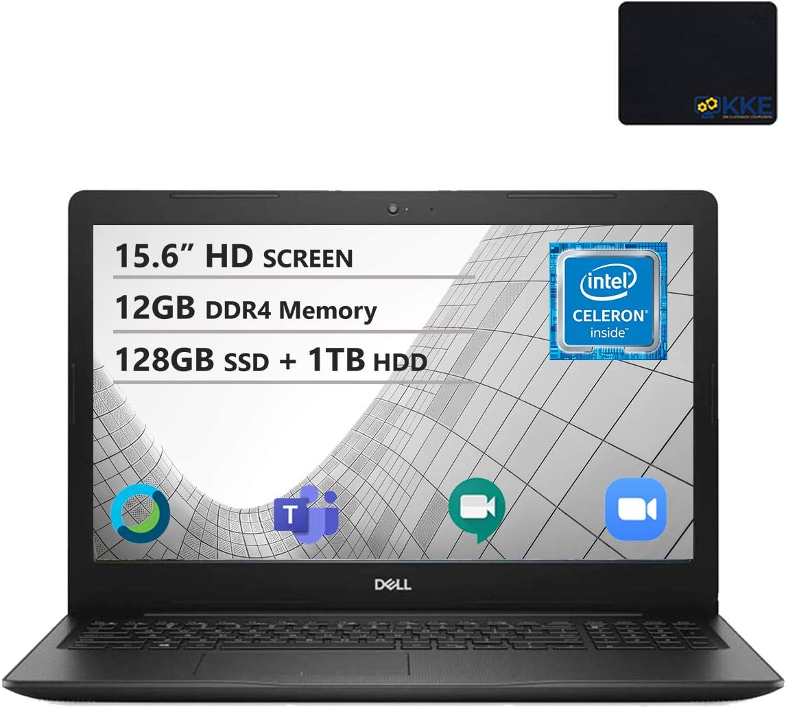 "Dell Inspiron 15.6"" HD Laptop, Intel 4205U Processor, 12GB DDR4 Memory, 128GB PCIe Solid State Drive + 1TB HDD, Online Class Ready, Webcam, WiFi, HDMI, Bluetooth, KKE Mousepad, Win10 Home, Black"