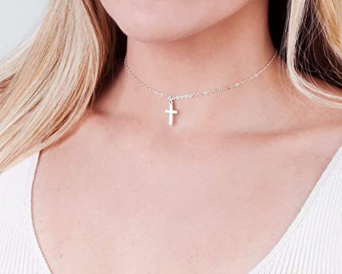 choker Fashion choker necklace cross choker Trend Simple necklace- silver  choker Gunmetal chain necklace necklace
