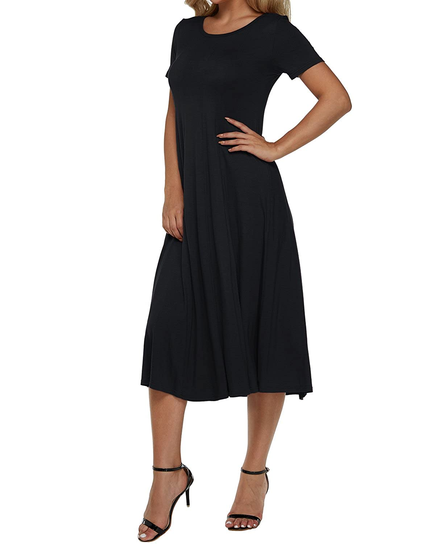 20567718636e ZANZEA Women s Solid Color Midi Dress Short Sleeve Casual Round Neck A-Line  Dress at Amazon Women s Clothing store