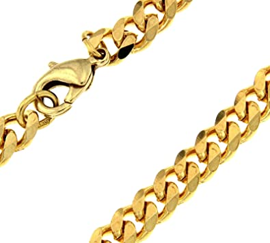 TENDENZE Curb Chain Necklace Gold Doublé 10/000, Width 7mm/0.27