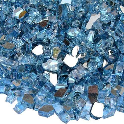 Onlyfire Reflective Fire Glass for Natural or Propane Fire Pit, Fireplace, or Gas Log Sets, 10-Pound, 1/4-Inch, Pacific - Fire Glass Fireplace