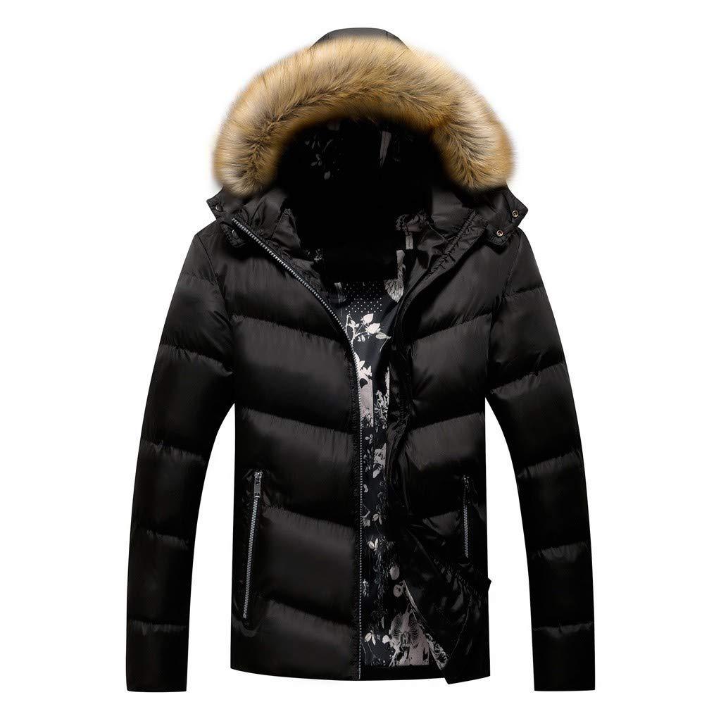 WUAI-Men Winter Coat Faux Fur Hooded Thicken Warm Parka Puffer Jacket Plus Size(Black,Large) by WUAI-Men