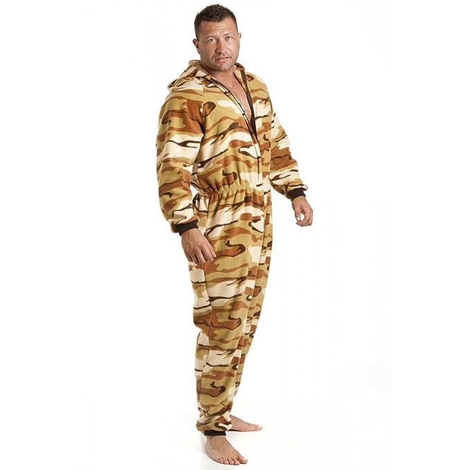 Camille Pijama polar de una pieza de hombre - Con capucha y bolsillos - Estampado de camuflaje del desierto - Talla S a 5XL: Amazon.es: Ropa y accesorios