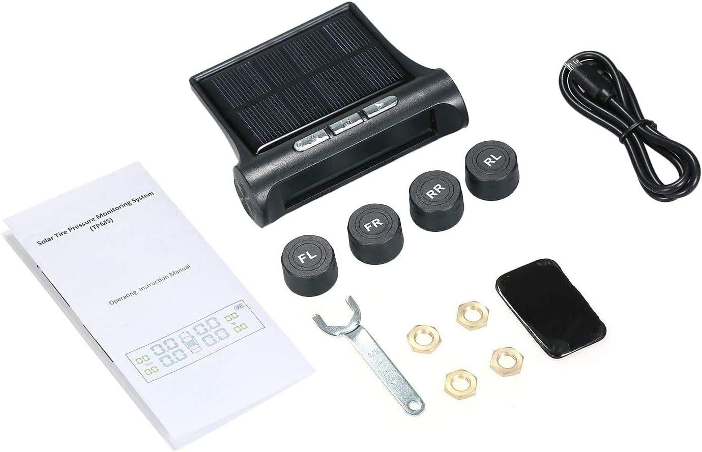 Goolsky Sistema de monitoreo de presi/ón de neum/áticos de Coche inal/ámbrico TPMS Solar con 4 sensores externos