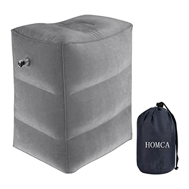 HOMCA 2 Pack Travel Foot Rest Pillow, Inflatable Travel Pillow Kids Foot Rest,Airplane,Office, Car,Train(Grey)