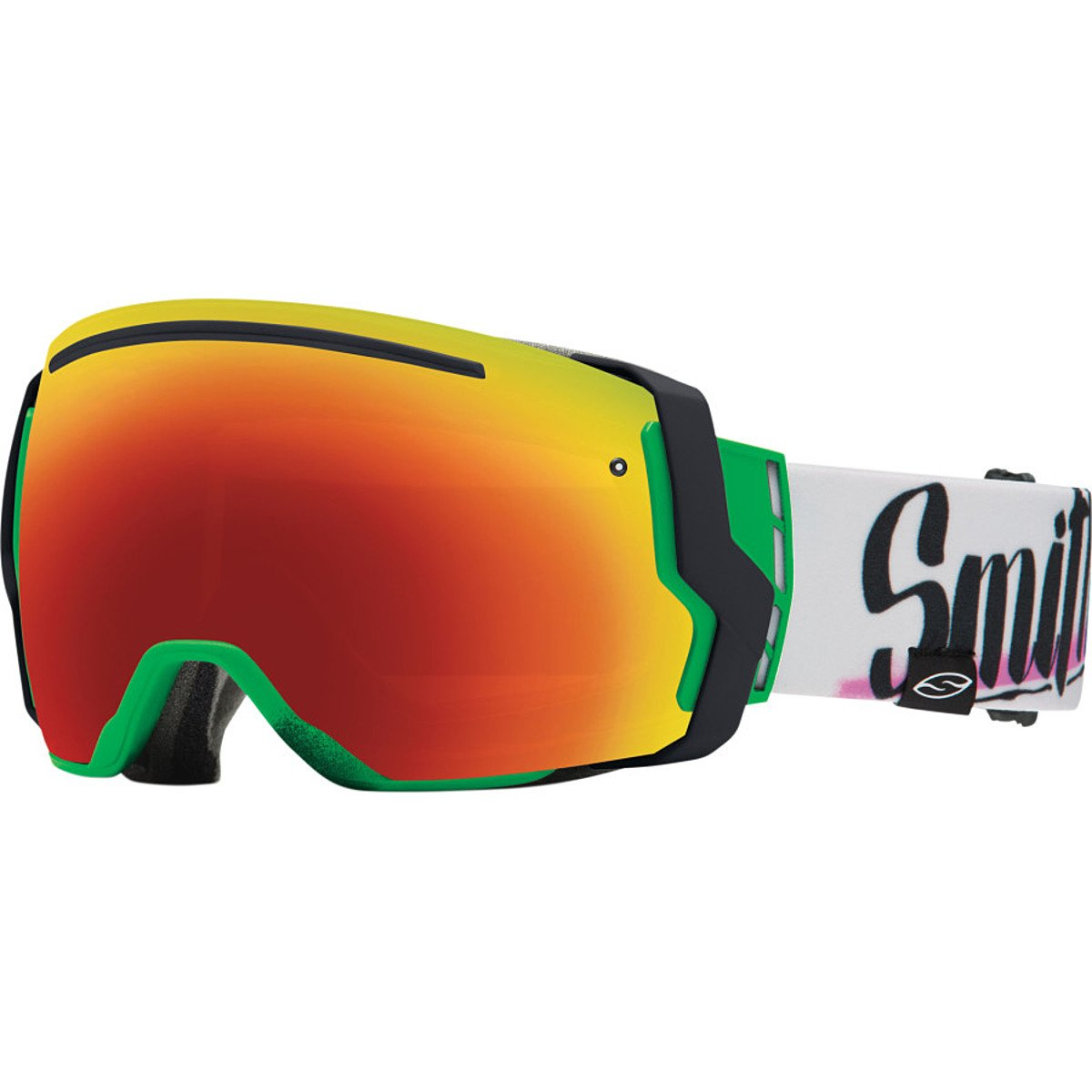 Smith Optics I/O7 Vaporator Series Snocross Snowmobile Goggles Eyewear - Neon Baron Von Fancy/Red SOL-X/Blue Sensor / Medium by Smith Optics