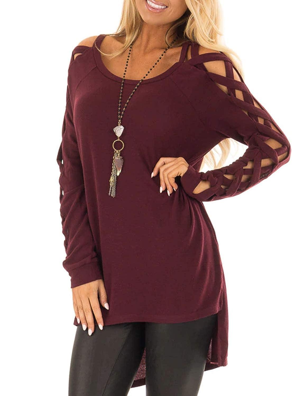 BMJL Women's Asymmetric Cut Out ColdShoulder Long Sleeve Tops LonglineShirt Elegant High Low Hem Winter ONeckJumper