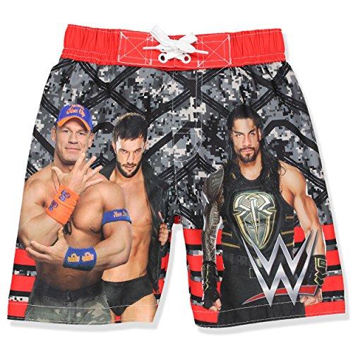 WWE Boys Swim Trunks Swimwear (7, Black/Red) by WWE