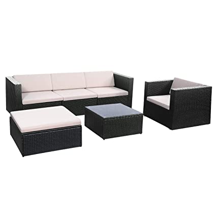 Amazon.com : zwan 6 pcs Outdoor Patio Rattan Cushioned Sofa ...
