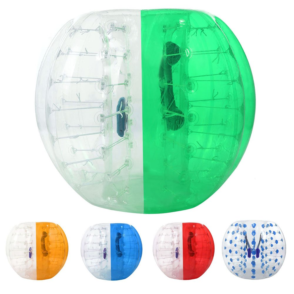 Cosway TPU Transparent Inflatable Bumper Ball Human Knocker Ball Bubble Soccer for Adults and Teenagers, 123/133cm Diameter (Green and White 1.5M)