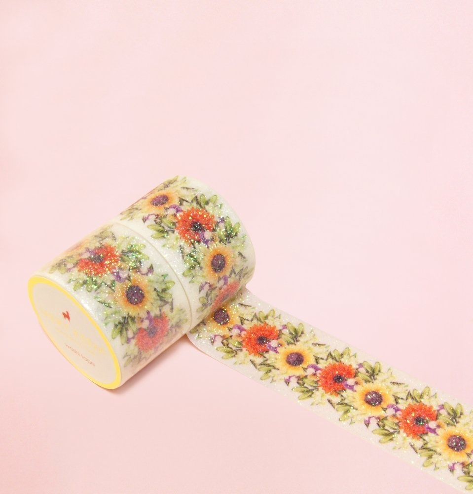 Sonnenblume Gold Foil Washi Tape for Planning • Planer und Organizer • Scrapbooking • Deko • Office • Party Supplies • Gift Wrapping • Colorful Decorative • Masking Tapes • DIY (30mm breit - 3 Meter)