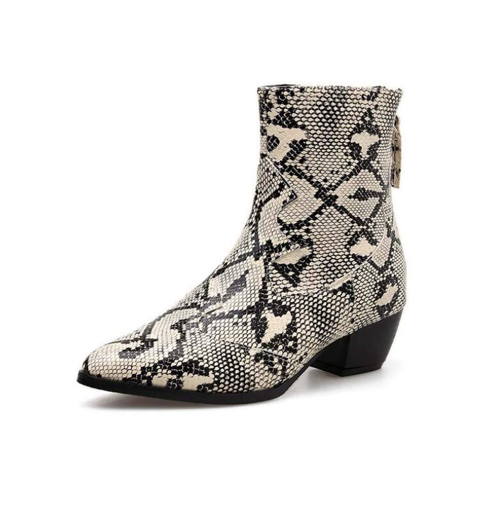 Snake Pattern Ankle Ankle Ankle Stiefelie Martin Stiefel Frauen Pointed Toe 4 5cm Chunkly Heel Party Dress Schuhe OL Hofschuhe Eu Größe 34-40 ee9635