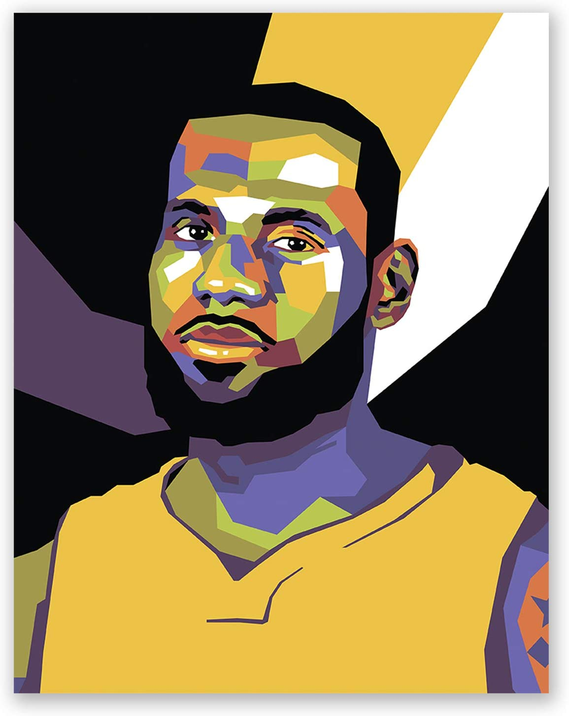 James Lebron Poster – Los Angeles Lakers NBA Wall Art Print – Pop Art Portrait – Basketball Home Decor
