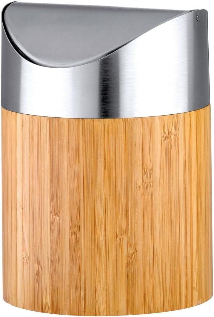axentia Cubo de basura Bonja de bambú y acero inoxidable cepillado mate, pequeño cubo de basura con tapa, 0,8 litros, color plateado y madera, 12 x 12 x 16,5 cm