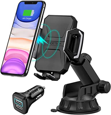 CHOETECH Wireless Car Charger, 10W 7.5W Qi Wireless Fast Charger Car Mount USB-C Phone Holder Compatible with iPhone 11 11 Pro 11 Pro Max XS XS Max XR X 8, Samsung Note 10 S10 S9 QC3.0 Car Charger