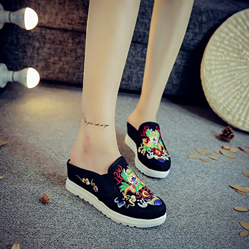 Shoes House Women's Casual Chinese Qhome Dragon Black Embroidery Comfortable Canvas Mules Slippers v77nxH