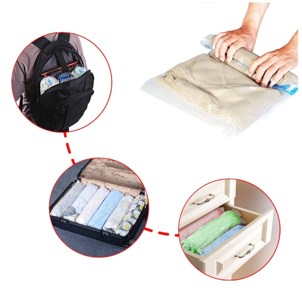 Travel Compression Storage Bags 8 Space Saver Roll Up Seal Bags for Clothing Luggage No Vacuum Sacks Redhilly