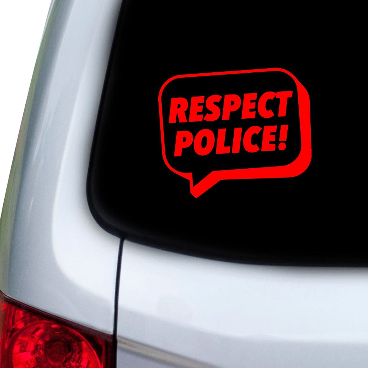 Doors StickAny Car and Auto Decal Series Respect Police Speech Bubble Sticker for Windows Hoods Red